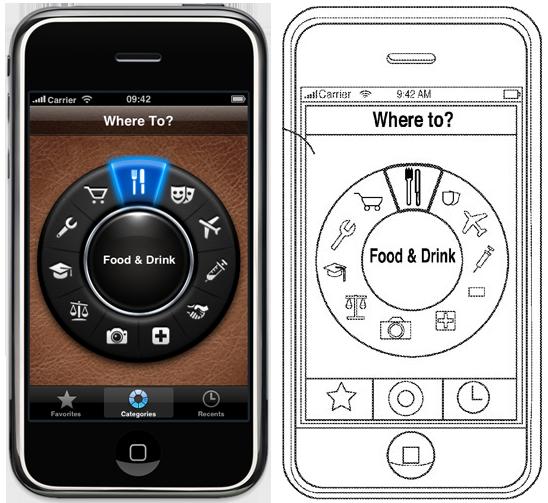 Where To? e desenho de patente da Apple
