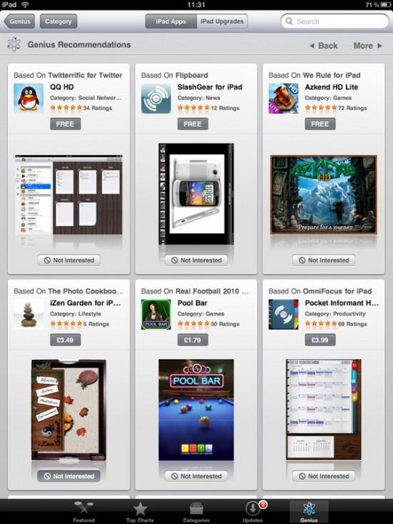 Genius na iPad App Store