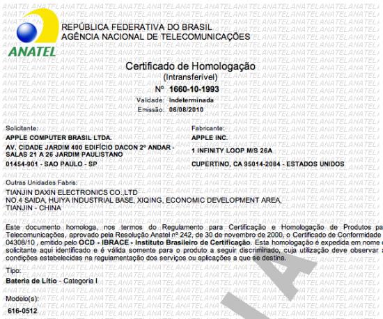 Certificado de homologação da bateria do iPhone 4