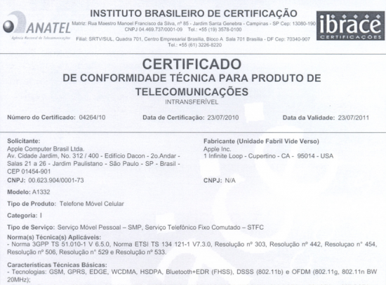 Certificado de conformidade técnica do iPhone 4