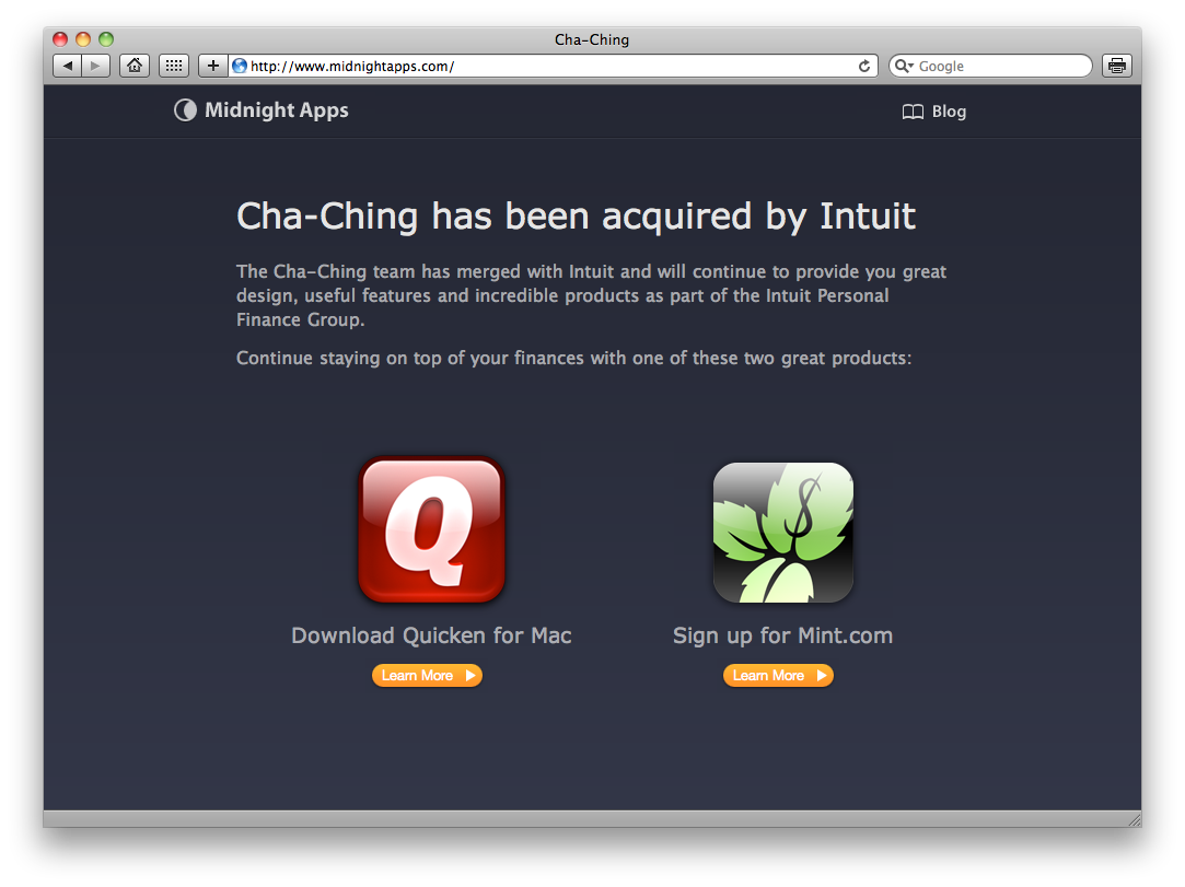 Cha-Ching adquirido pela Intuit