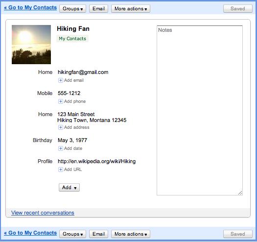 Nova interface dos Contatos no Gmail