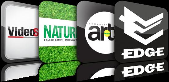 Ícones dos apps de revistas da Editora Europa
