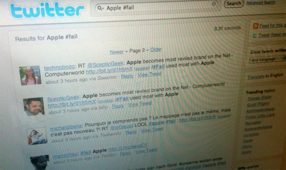 Apple #fail no Twitter