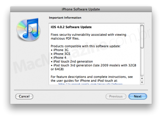 iOS 4.0.2 no iTunes