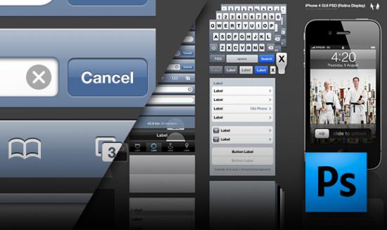 GUI do iPhone 4 em PSD - Retina Display
