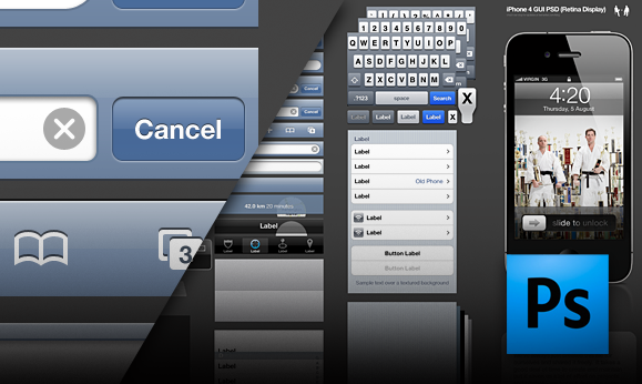 GUI do iPhone 4 em PSD - Retina Display