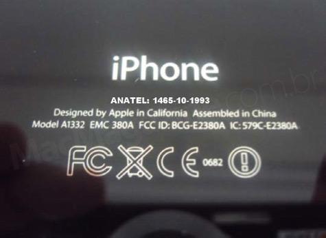 Selo da Anatel na traseira do iPhone 4