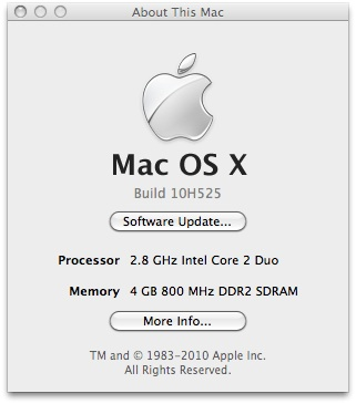 "Janela ""About"" do Mac OS X 10.6.5"