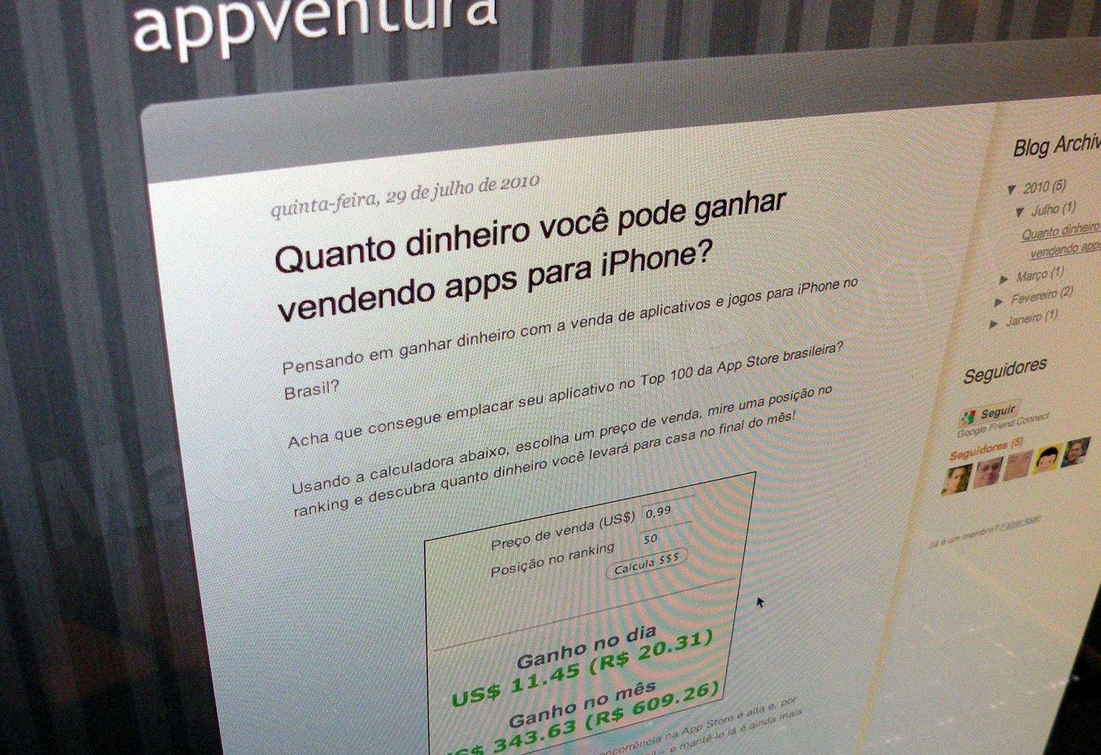Dinheiro na App Store Brasil