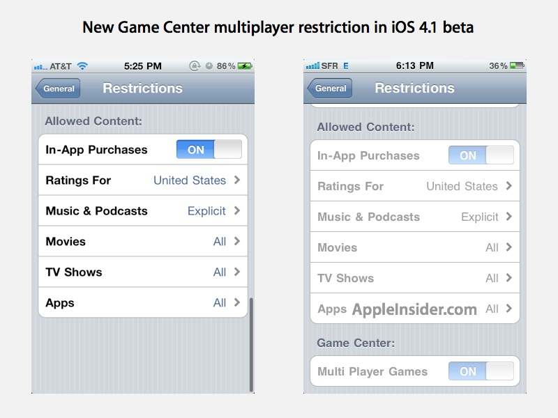 Restrição multiplayer do Game Center no iOS 4.1