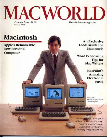 Capa da Macworld com Steve Jobs no lançamento do Macintosh