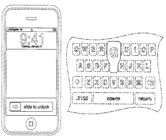 "Patente de ""Slide to unlock"" e teclado virtual"