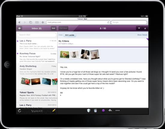 Yahoo! Mail otimizado para o iPad