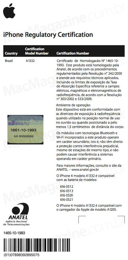 Certificado do iPhone 4 na Anatel