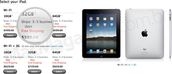 Previsão de entrega do iPad