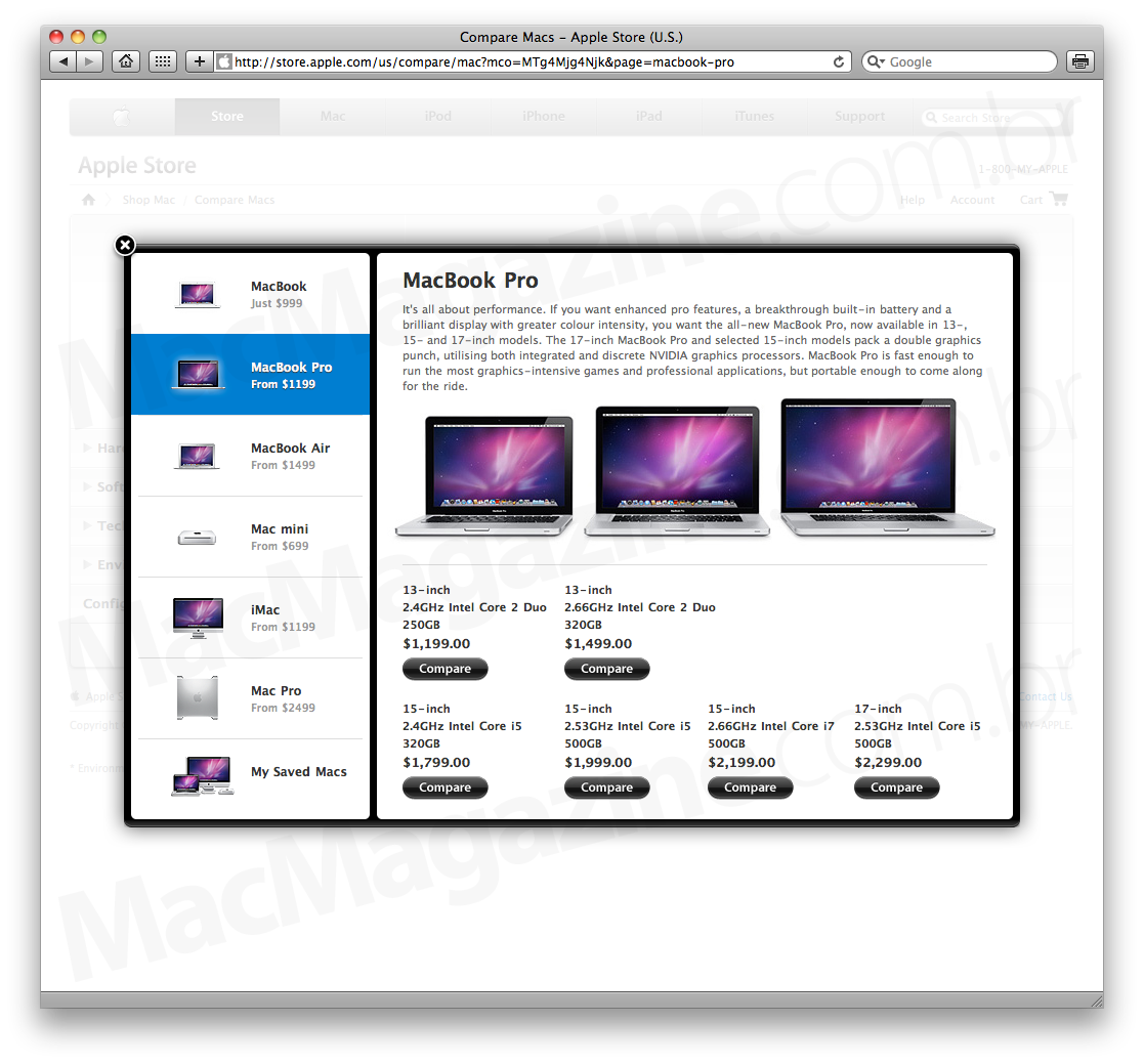 Compare Macs na Apple Online Store