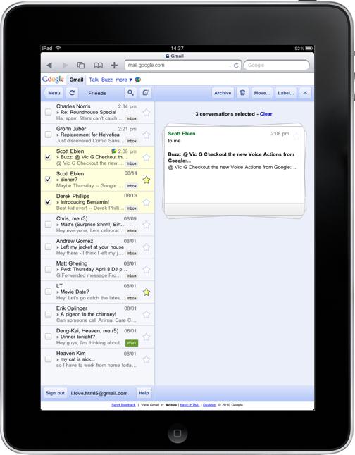 Novo Gmail para iPad