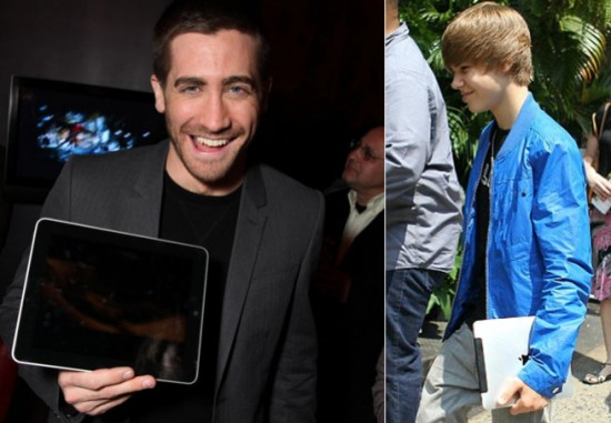 Mac é Pop - Jake Gyllenhaal e Justin Bieber com iPads