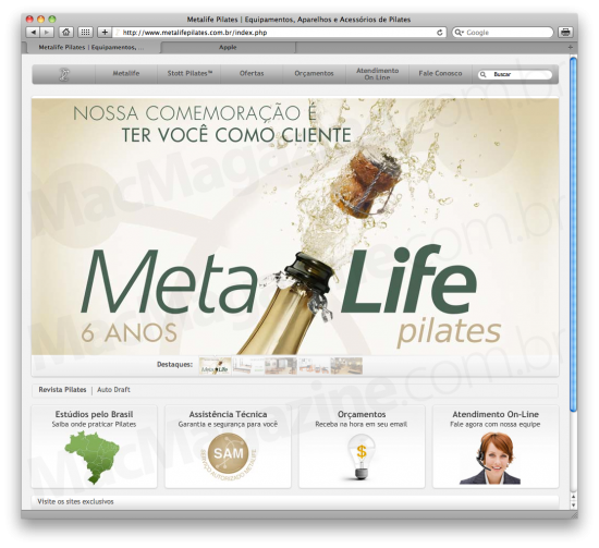 Site do Metalife Pilates