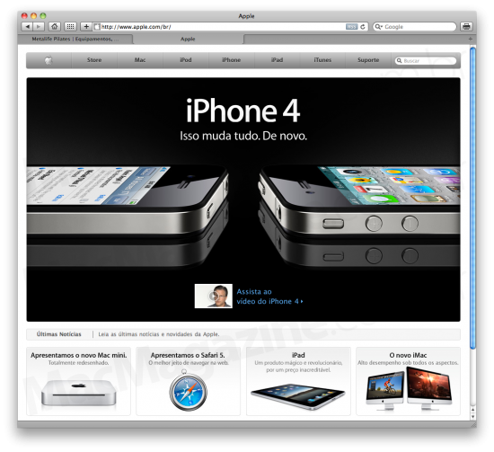 Site da Apple Brasil