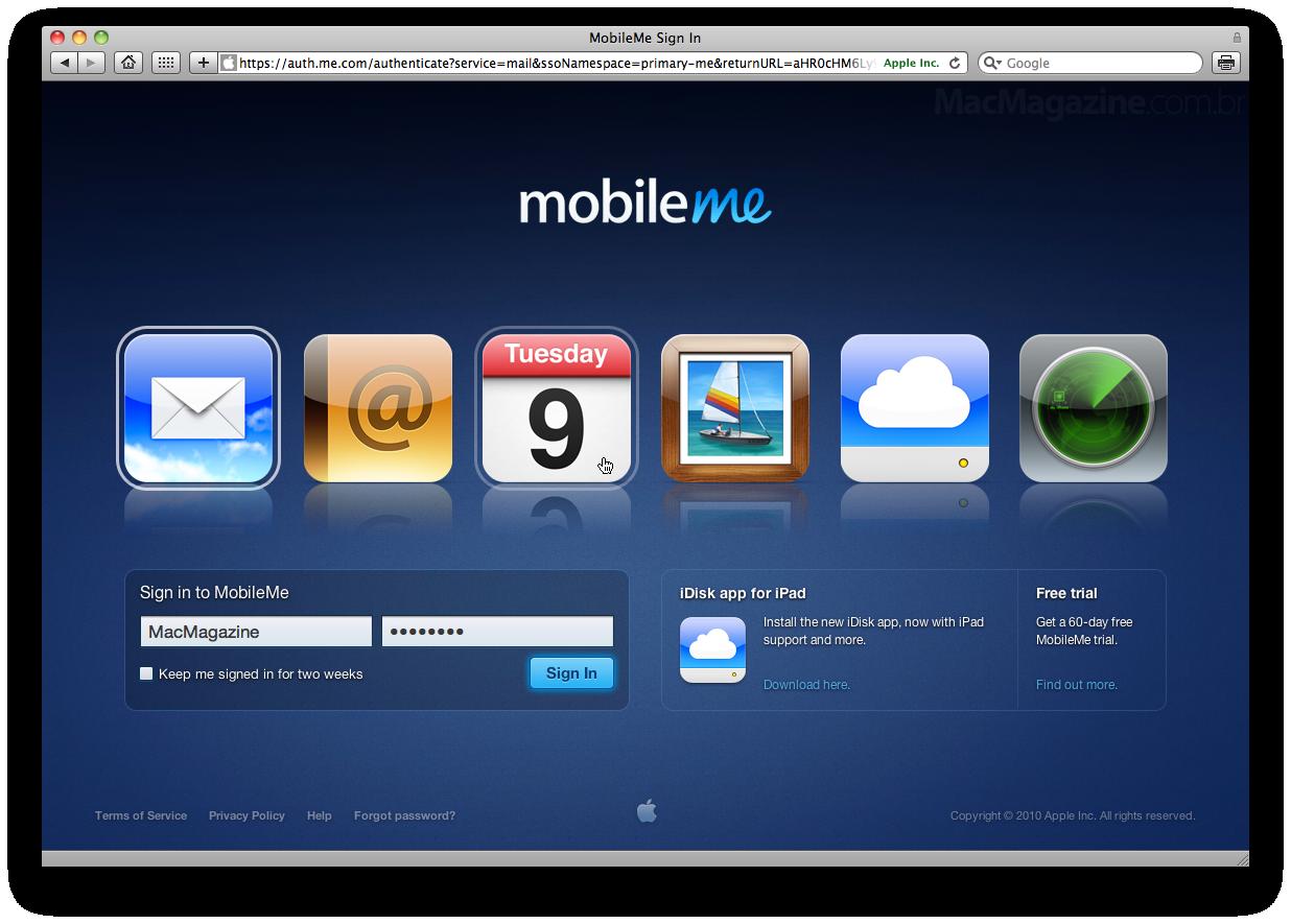 Login do MobileMe