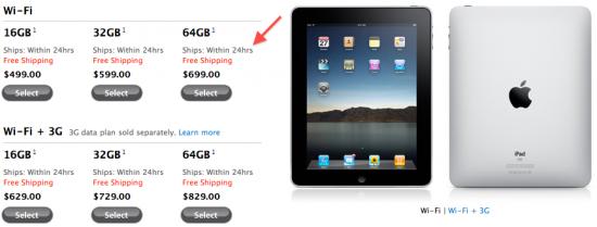 Previsão de entrega do iPad; Apple Online Store