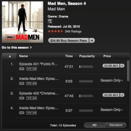 Mad Men na iTunes Store