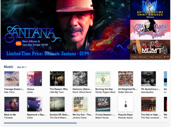iTunes Store, página principal