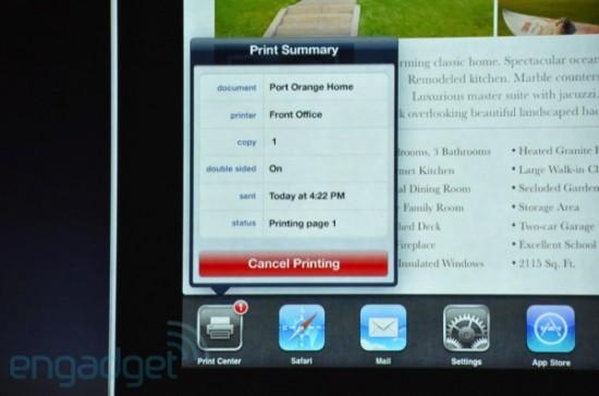 Novidades do iOS 4.2; impressão