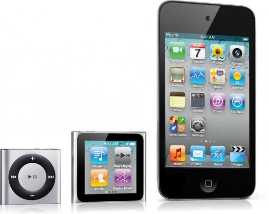 Família de novos iPods - shuffle, nano e touch