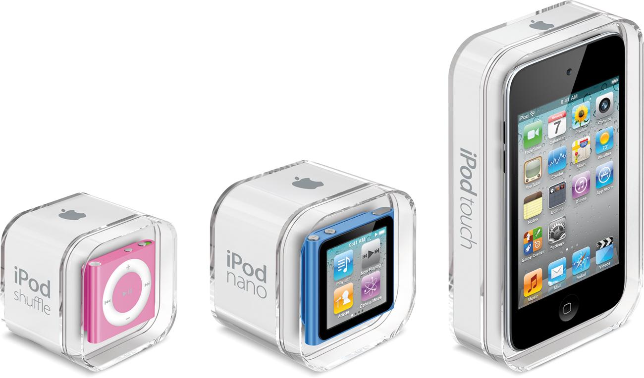 Embalagens dos novos iPods