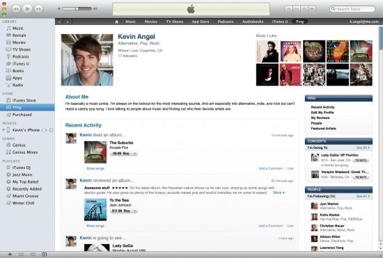Perfil de usuário Ping no iTunes 10