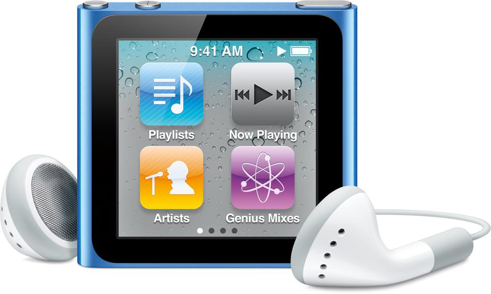iPod nano azul, de frente