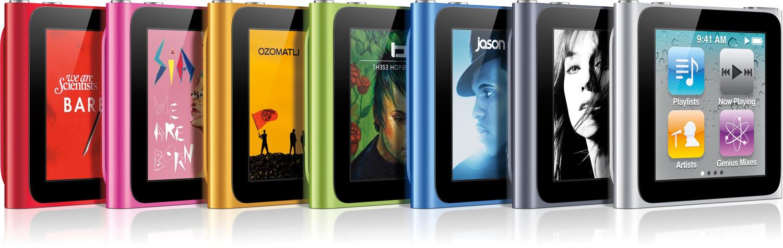 Família de iPods nano com todas as cores