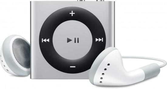 iPod shuffle prata, de frente