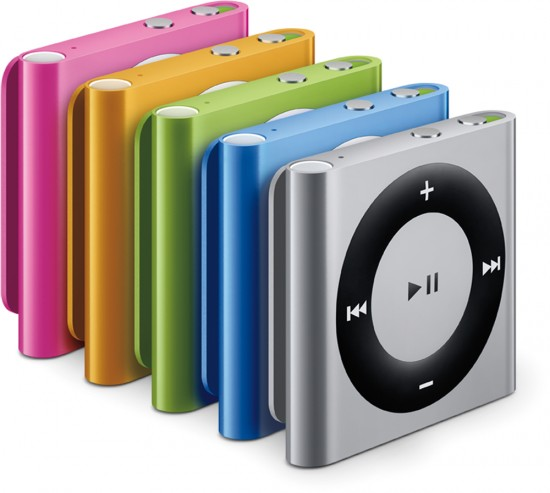 Família de novos iPods shuffle, todas as cores