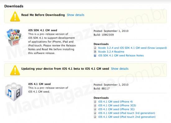 iOS 4.1 GM seed da Apple