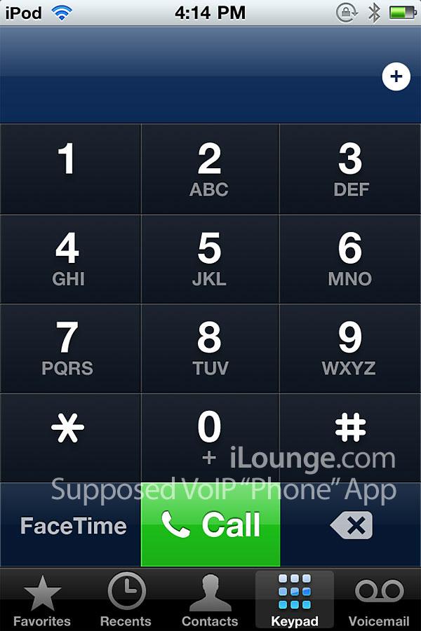 Interface de VoIP nativo no iPod touch 4G