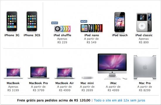 Produtos na Apple Online Store do Brasil
