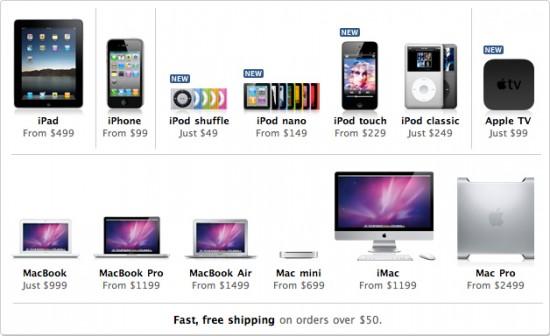 Produtos na Apple Online Store dos Estados Unidos