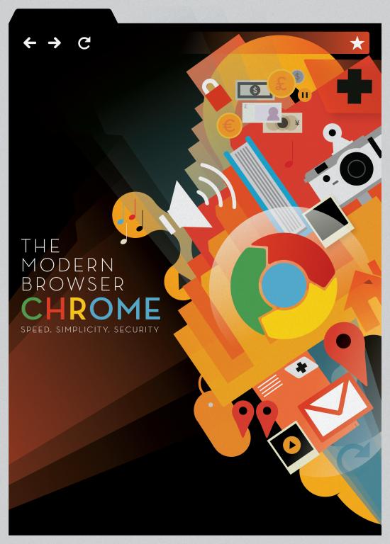 Pôster de dois anos do Google Chrome