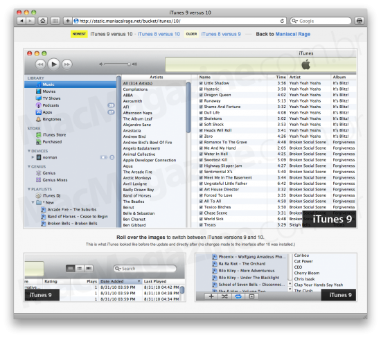 Comparativo da interface do iTunes 10 com o 9