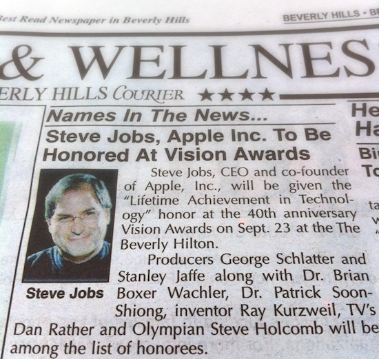Steve Jobs no Vision Awards