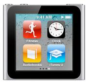 Homes Screen com relógio; iPod nano