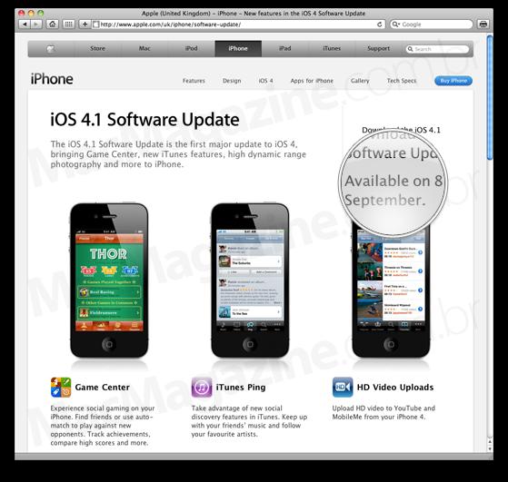 iOS 4.1 no dia 8 de setembro