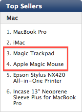 Mais vendidos na Apple Online Store, Magic Trackpad vs. Mouse
