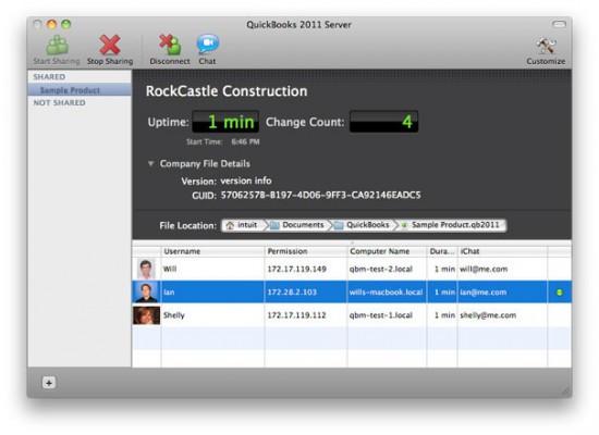 Múltiplos usuários no QuickBooks 2011