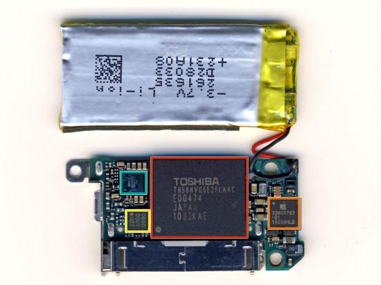 Chips e bateria do iPod nano 6G; iFixit
