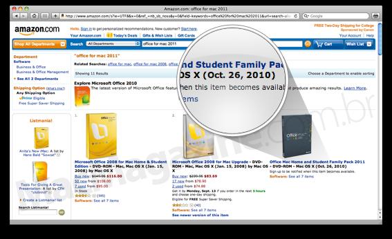 Microsoft Office 2011 para Mac na Amazon.com